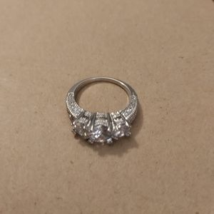 White Gold Filled with Created Sapphire Ring